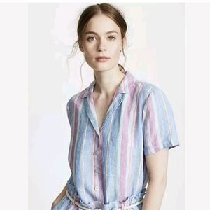 FRAME Striped Linen Button Down Crop Boxy y2k